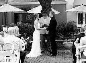 Black and white courtyard wedding